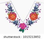 embroidery flower v neck line...   Shutterstock .eps vector #1015213852