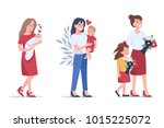 beautiful mothers with kids.... | Shutterstock .eps vector #1015225072