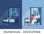 woman sleep in bed at night and ... | Shutterstock .eps vector #1015225366