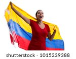 colombian female fan... | Shutterstock . vector #1015239388