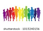 running people. colorful crowd... | Shutterstock . vector #1015240156