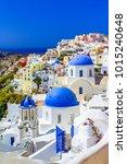 oia town  santorini island ... | Shutterstock . vector #1015240648