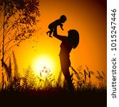 mom with child in the nature at ... | Shutterstock .eps vector #1015247446