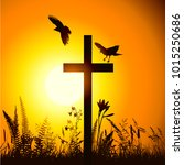 cross at sunset with birds | Shutterstock .eps vector #1015250686
