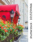 Small photo of LONDON, UNITED KINGDOM - August 3rd, 2014: flower detail of a street in Mayfair, in an affluent area of London city centre featuring the Chesterfield hotel entrance