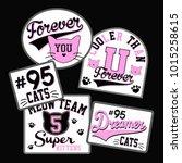 cute cat badges  | Shutterstock .eps vector #1015258615