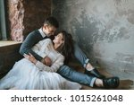 newlyweds are resting at home.... | Shutterstock . vector #1015261048