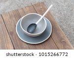 empty bowl on rustic wood ... | Shutterstock . vector #1015266772