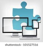 Puzzle Concept. Information Medium on Grey Gradient Background. Vector. - stock vector