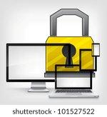 Lock Concept on Grey Gradient Background. Vector EPS 10. - stock vector