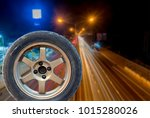 flat tire isolated from white... | Shutterstock . vector #1015280026