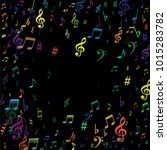 color flying musical notes... | Shutterstock .eps vector #1015283782