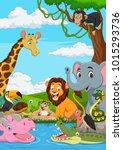 cartoon african landscape with... | Shutterstock .eps vector #1015293736