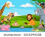cartoon african landscape with... | Shutterstock .eps vector #1015294108
