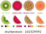 fruit slices and wedges in... | Shutterstock .eps vector #101529592
