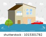 flooding due to heavy rain and... | Shutterstock .eps vector #1015301782