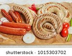 set of grilled pork hot... | Shutterstock . vector #1015303702