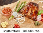 grilled pork ribs with sweet... | Shutterstock . vector #1015303756