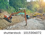 heavy machinery that is working ... | Shutterstock . vector #1015306072