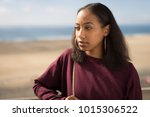 young black woman face portrait ... | Shutterstock . vector #1015306522