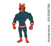 cartoon magnet superhero | Shutterstock .eps vector #1015306786