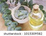 oil and eucalyptus leaves on...   Shutterstock . vector #1015309582