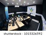 interior of a radio studio with ... | Shutterstock . vector #1015326592