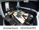 interior of a radio studio with ... | Shutterstock . vector #1015326595