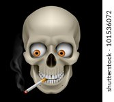 Raster version. Human Skull  with eyes and cigarette. Illustration on black background - stock photo