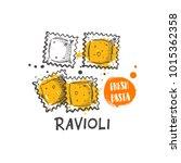 ravioli pasta. italian cuisine. ... | Shutterstock .eps vector #1015362358