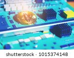abstract image golden bitcoin... | Shutterstock . vector #1015374148