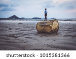 tourists with plastic garbage... | Shutterstock . vector #1015381366