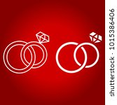 wedding rings line and glyph... | Shutterstock .eps vector #1015386406