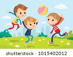 children playing outside | Shutterstock .eps vector #1015402012