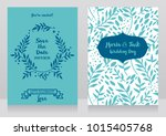 two wedding cards with  twigs... | Shutterstock .eps vector #1015405768
