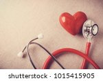 Red heart with stethoscope ...