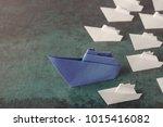 origami paper ships  leadership ... | Shutterstock . vector #1015416082
