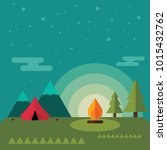 mountain camp with bonfire in... | Shutterstock .eps vector #1015432762