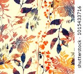 imprints flowers and leaves mix ... | Shutterstock . vector #1015433716