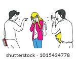 two school teen students... | Shutterstock .eps vector #1015434778