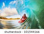 body boarder on large wave... | Shutterstock . vector #101544166