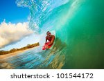 body boarder on large wave... | Shutterstock . vector #101544172