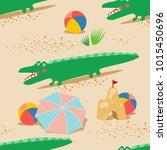 summer beach seamless pattern.... | Shutterstock .eps vector #1015450696