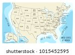 hand drawn vector map of the... | Shutterstock .eps vector #1015452595