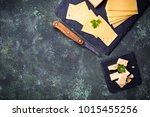 various type of sliced cheese.... | Shutterstock . vector #1015455256