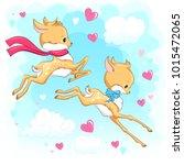 cute baby deers in the sky with ... | Shutterstock .eps vector #1015472065