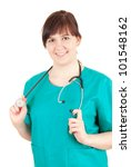 smiling overweight woman doctor in green uniform, white background - stock photo