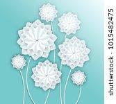 paper flowers. volumetric... | Shutterstock . vector #1015482475