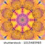 geometric kaleidoscope orange... | Shutterstock . vector #1015485985