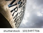 Small photo of CARDIFF, WALES, UK, JANUARY 2015 - Detail of Wales Millennium Centre in Cardiff Bay, Cardiff, Wales